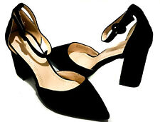 0b9dcf2d061 Chunky Block Heel Closed Pointy Toe Ankle Strap Buckle High Mid Heels Pumps  Shoe