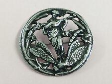 ANTIQUE ART NOUVEAU STERLING SILVER BUTTON BROOCH PIN 1890