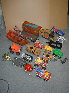 Big Lot of Large Plastic Toy Vehicle Cars, Helicopter,, ATV Marvel, Fisher Price