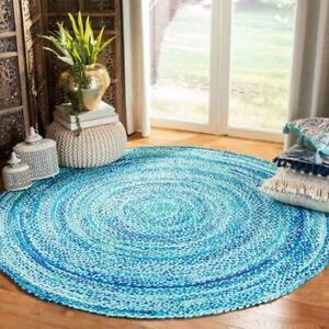 Rug 100% Natural Cotton 3x3 Feet Handmade Reversible Carpet Rustic Look Area Rug