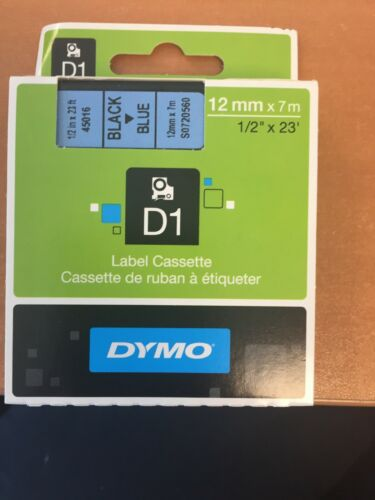 Rouleau Cassette Dymo D1 Bleu Noir 12mmx7mm