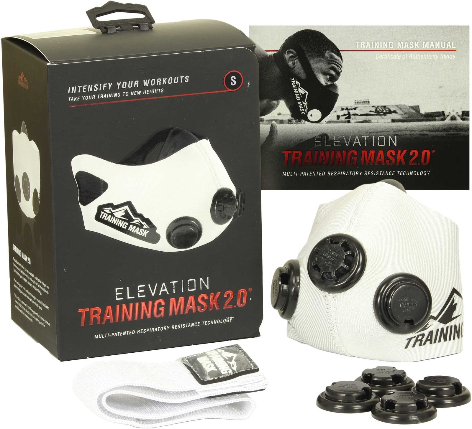 Elevation Training Mask 2.0 White Edition - All Sizes - Increased Lung Strength