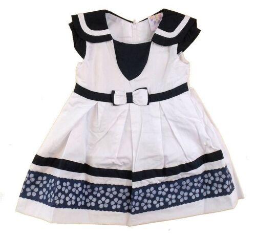 Cutey Pie Sommerkleid **Flower /& Sailor**Gr.68-92 Weiß-Blau England NEU