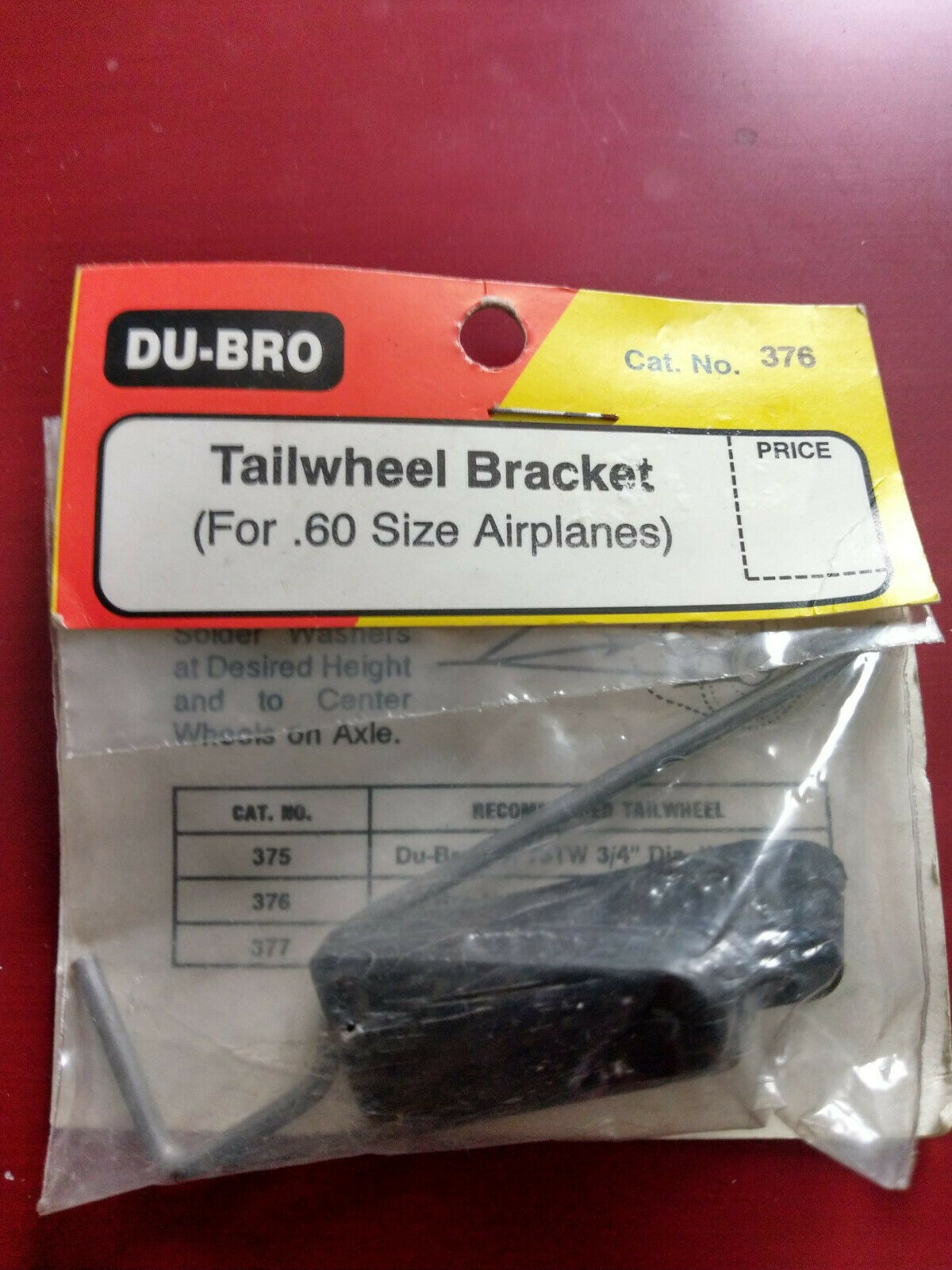 Hardware for RC Model Aircraft .60 Size Dubro DB376 Tail Wheel Bracket