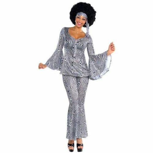 Ladies Dancing Queen Fancy Dress Costume Black White 1970/'s Disco Diva 8-10