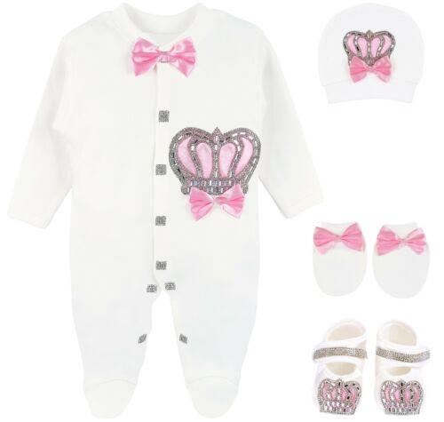 Lilax Baby Girl Crown Jewels Layette 4 Piece Gift Set 0-3 Months Pink