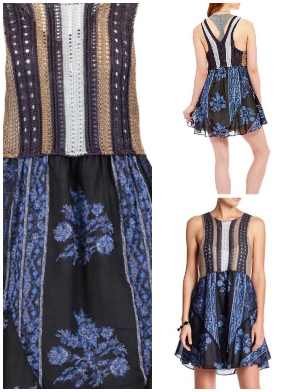 NWT NWT NWT Free People Katie's Dress Crochet Bodice M Fit Flare Mini bluee Combo  168 911b7b