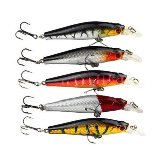 5pcs /Lot Plastic Minnow Fishing Lures Floating Rattles Bass Crankbait 8.5cm