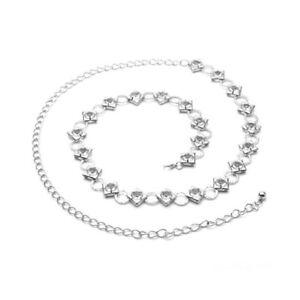 vente chaude en ligne 16263 8cdff Détails sur Mesdames Argent Ceinture Diamant Chaîne Diamant pour Mode  Soirée Robes