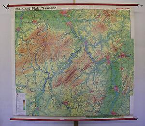 NICE Old School Wall Map Rhineland-Palatinate, Saarland ~ 1960 ...