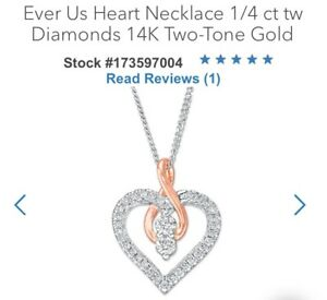 22cea3651 Details about KAY 14K White & Rose Gold *EVER US* 1/2ct Diamond Heart Necklace  Kay Jewelers