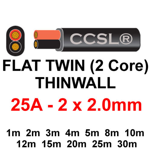 2 Core Twin Thinwall Red//Black 12V Auto Automotive Marine Cable Wire Wiring Loom
