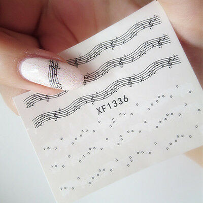 Artistic Music Symbol Nail Art Water Decals Transfer Stickers Pretty Sticker