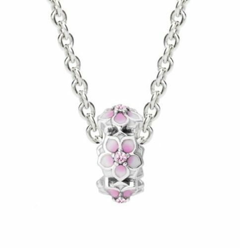 Magnolia Bloom Spacer Charm Pink And White Enamel Cubic Zirconia Flower Charm