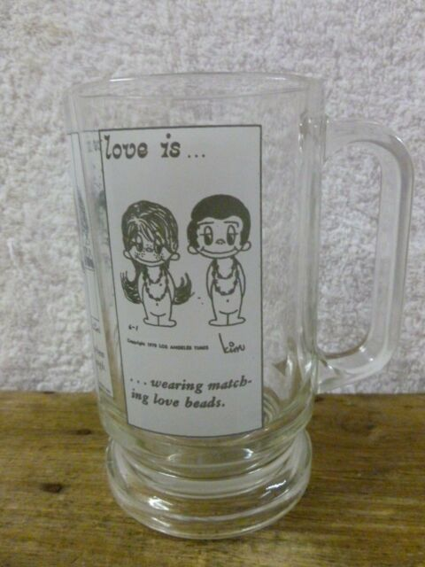 """Vtg Highly Collectable """"LOVE IS"""" ...1970""""s Glass Beer Tankard/Stein/Mug-Italy*EC"""