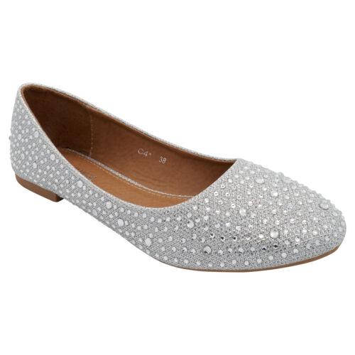 Dolly Womens Ballet Shoes Wedding Pump Silver Ballerina Diamante Glitter  Bridal Party fqRfTrZ d3eaa08e6