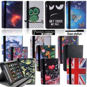 """Folio Leather Rotating Stand Cover Case For 7"""" 8"""" Amazon Kindle Fire Tablet"""