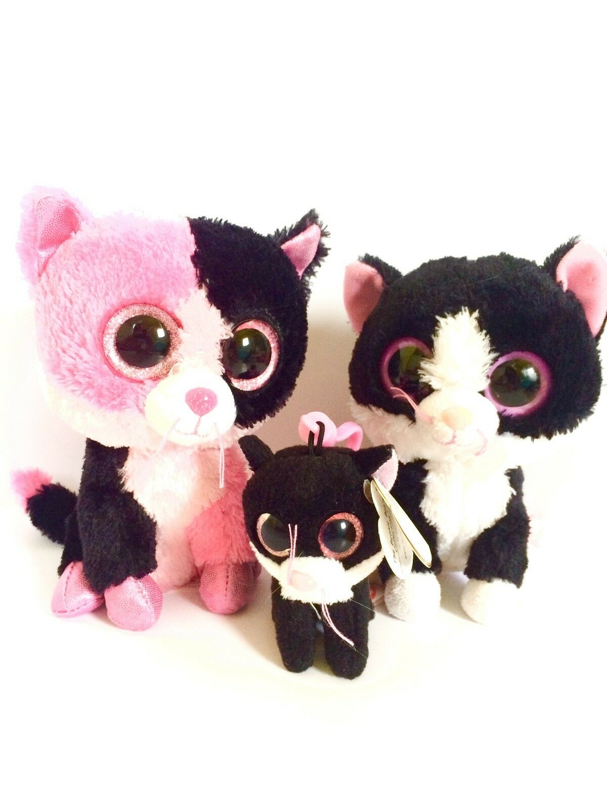 NEW Ty Beanie Baby Boos 3  clip & 6  PEPPER DAZZLE Cat Stuffed Plushes Lot of 3