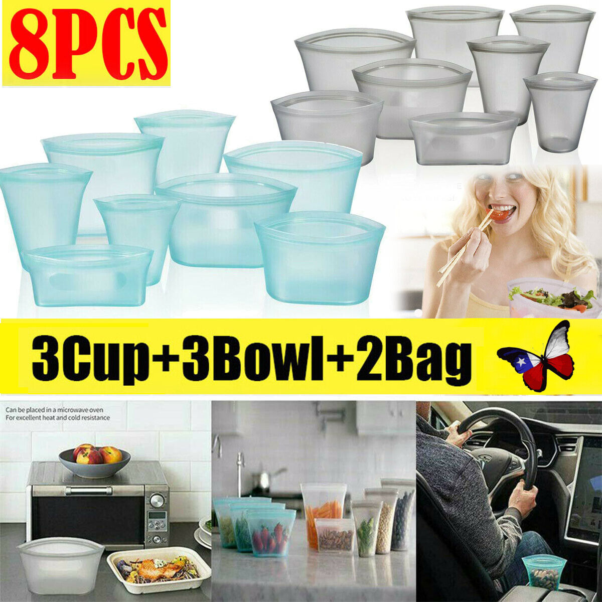 8pcs/Set Reusable Silicone Food Storage Bag Zip Lock Top Lea