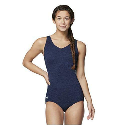 Speedo Women's Pebble Texture One Piece Swimsuit with, Peacoat, Size 18.0 Evka
