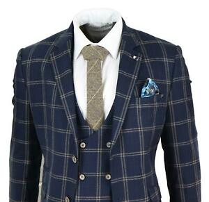 Herrenanzug 3 Teilig Cavani Marineblau Tailored Fit Braun Kariert Preis