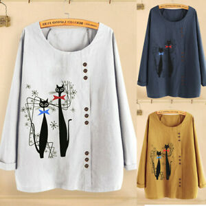 Women-s-Casual-Plus-Size-Shirt-O-Neck-Print-Loose-Button-Long-Sleeve-Blouse-Tops