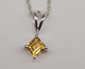 Edler-0-40-Carat-goldener-Citrin-Anhaenger-925-Silber-Collier-Kette