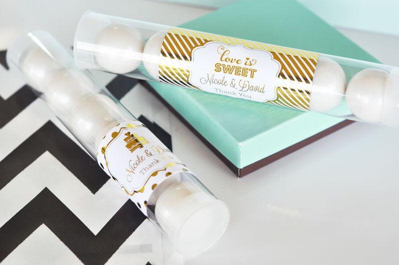 48 Métallique feuille Personnalisée Candy tubes Bridal Shower Mariage faveurs