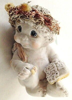 "White w Blue Dreamsicle 2 3/4"" ANGEL Figurine With GET WELL SOON SIGN"