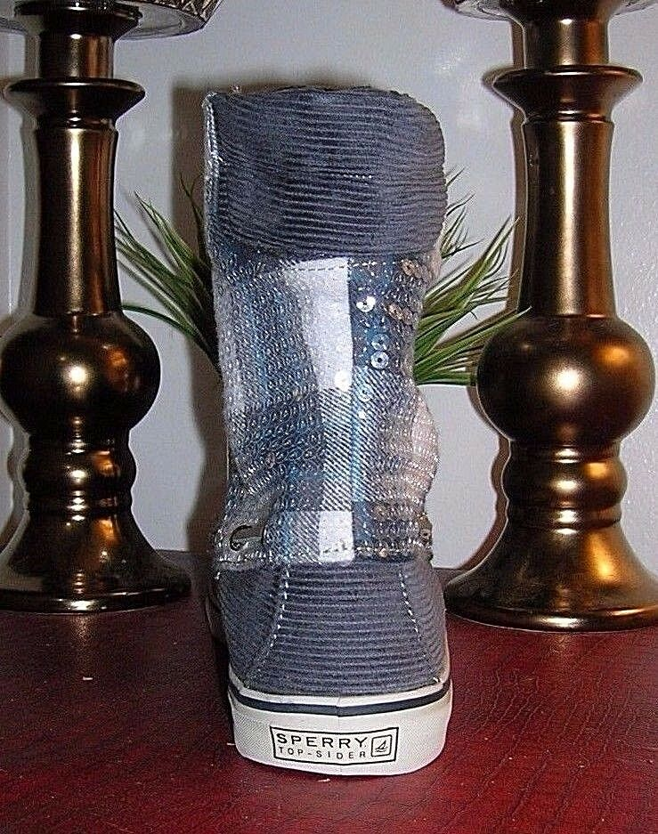 Sperry Top-Sider Acklins Chacoal Plaid Corduroy Lace Up Boots Boots Boots Women's Size 8 new c0de47