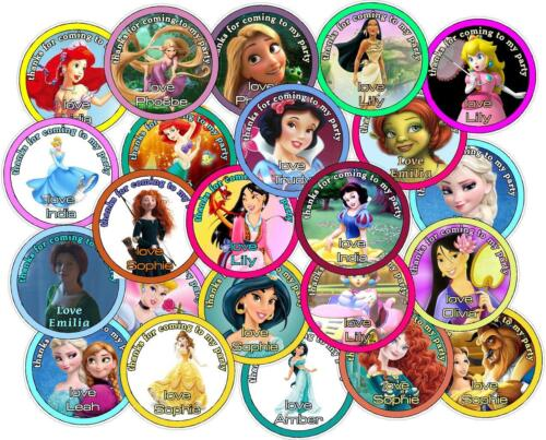 Princess Theme. Personalised Party Bag Stickers