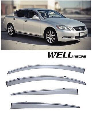 Made for and Compatible with Lexus LS460L LS600hL 2007 2008 2009 2010 2011 2012 2013 2014 2015 2016 with Chrome Trim WellVisors Side Window Wind Deflector Visors