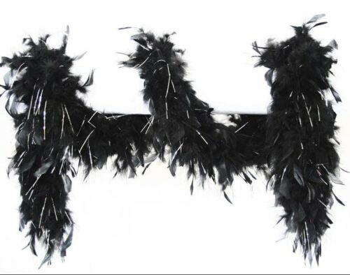 Boa with lurex 65 gr length 180 cm-silver//black
