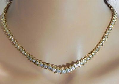 "Fine Jewelry Diamond Aspiring Vintage 1960s 18ct Diamond 14k Yellow Gold Over Tennis Graduated 16"" Necklace"