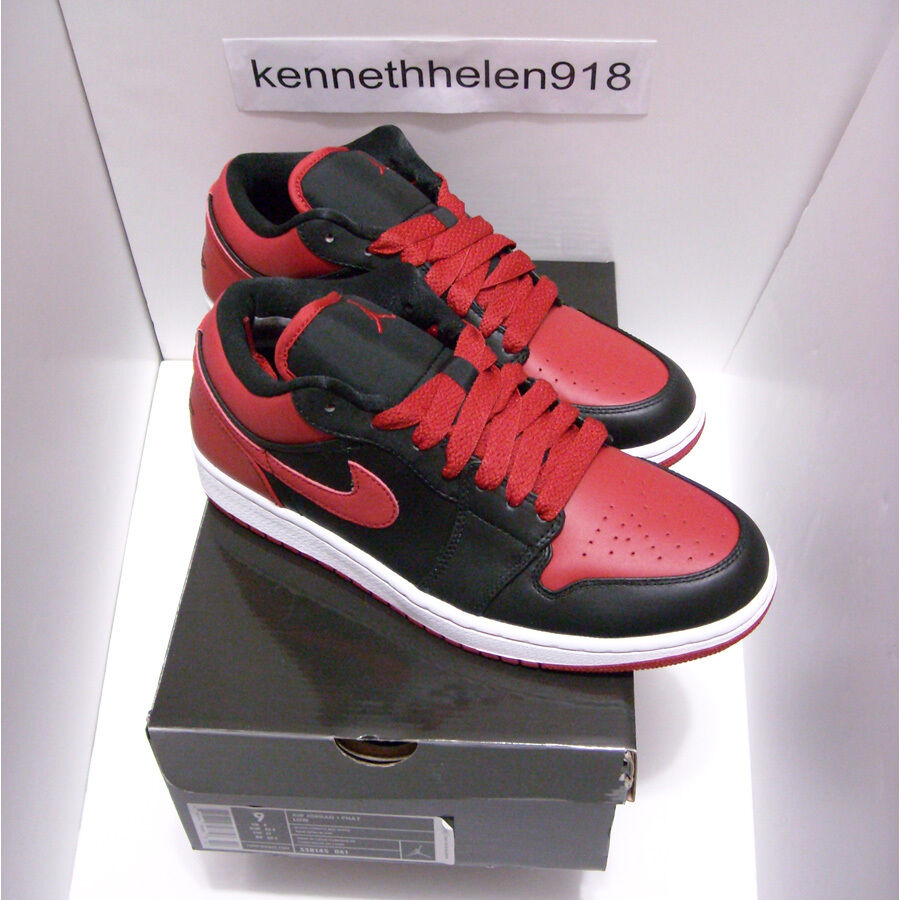 NEW 2008 NIKE AIR JORDAN 1 RETRO PHAT LOW BLACK VARSITY RED WHITE MENS SIZE 9