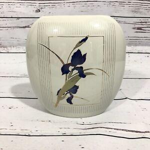 """Vintage Otagiri Grand Iris Vase 7"""" Tall Purple Flowers Made in Japan MCM"""