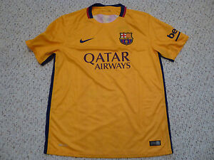 5c7f84465d0 NWT Nike 2015 16 FC Barcelona Yellow Away Jersey Men Size (LARGE or ...
