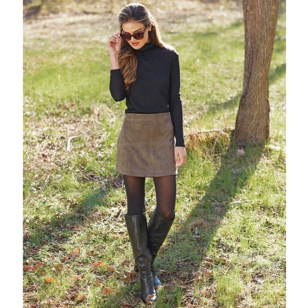 Mud Pie H7 Damen Mode Version Kunstwildleder Olive Rock 8523057GR Größe Wählen