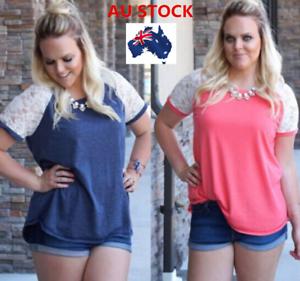 AU-Plus-Size-Women-Short-Sleeve-Lace-T-Shirt-Summer-Casual-Oversized-Blouse-Tops