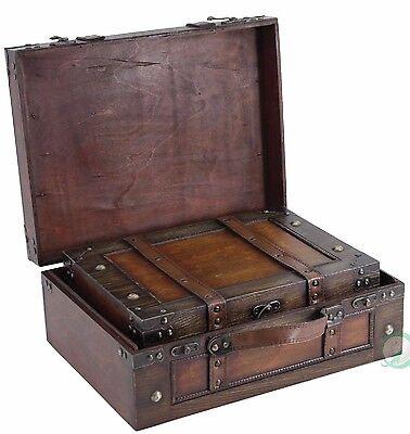 Ordinaire Decorative Storage Suitcases Vintage Style Antique Luggage Steamer Trunk  Wood 651355030138 | EBay