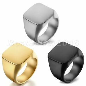 Image Is Loading Polished Square Signet Ring Stainless Steel Biker Mens