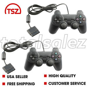 2-For-Sony-PS2-Playstation-2-Black-Twin-Shock-Game-Controller-JoyPad-Remote