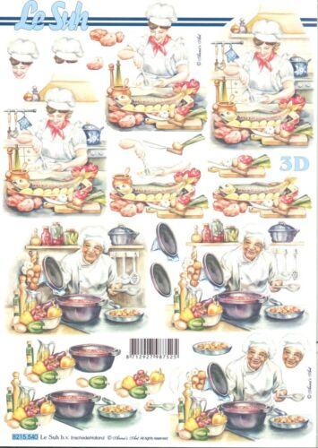 Feuille 3D à découper A4 8215.540 Cuisine Cuisinier Decoupage Sheet Cook