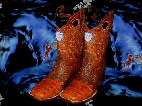 WILD WEST GENUINE CROCODILE BELLY SQUARE COGNAC RODEO WESTERN COWBOY BOOT 728203