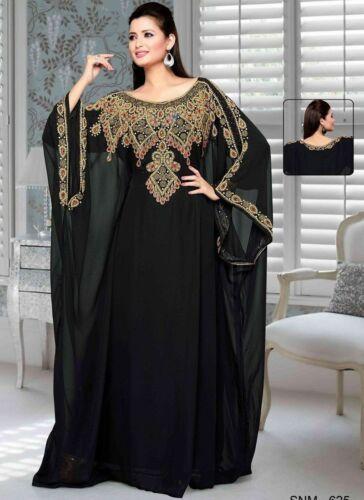 Machine Embroider Black Zari Ful Long Kaftan Farasha Abaya Islamic Dress By MZW