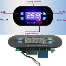 AC/DC12V Digital Thermostat Temperature Alarm Controller Sensor Meter Blue LED