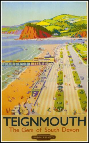 Sign//ad Retro Metal Plaque B.R.s  TEIGNMOUTH the Gem of South Travel by Rail