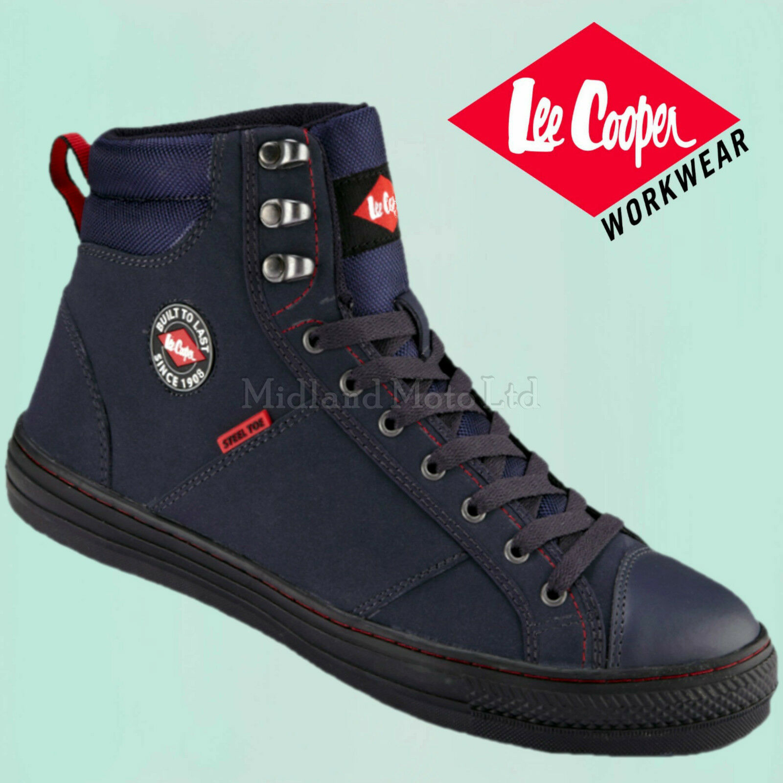 Lee Cooper Steel Toe Cap Navy bluee Baseball Style Safety Boots. Trainers shoes