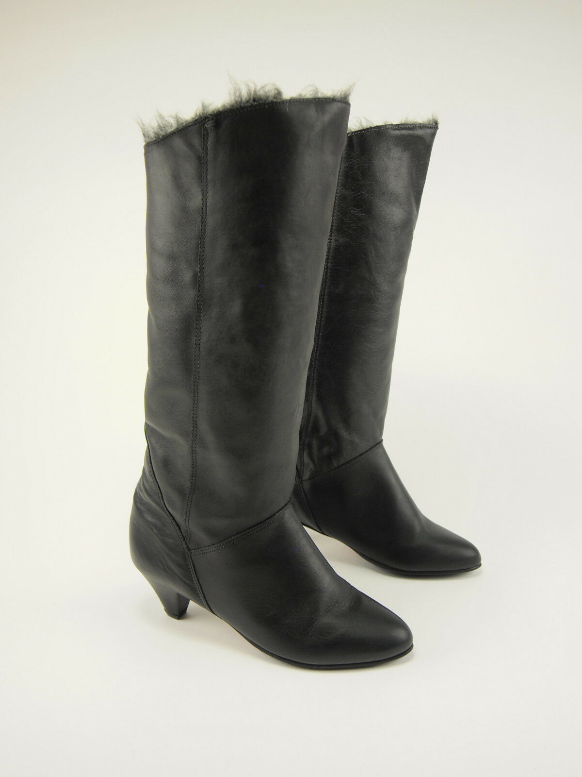 New  1980s COUGAR Vintage Winter Leder Sherpa-lined Winter Vintage Dress Stiefel 7.5 3bd424