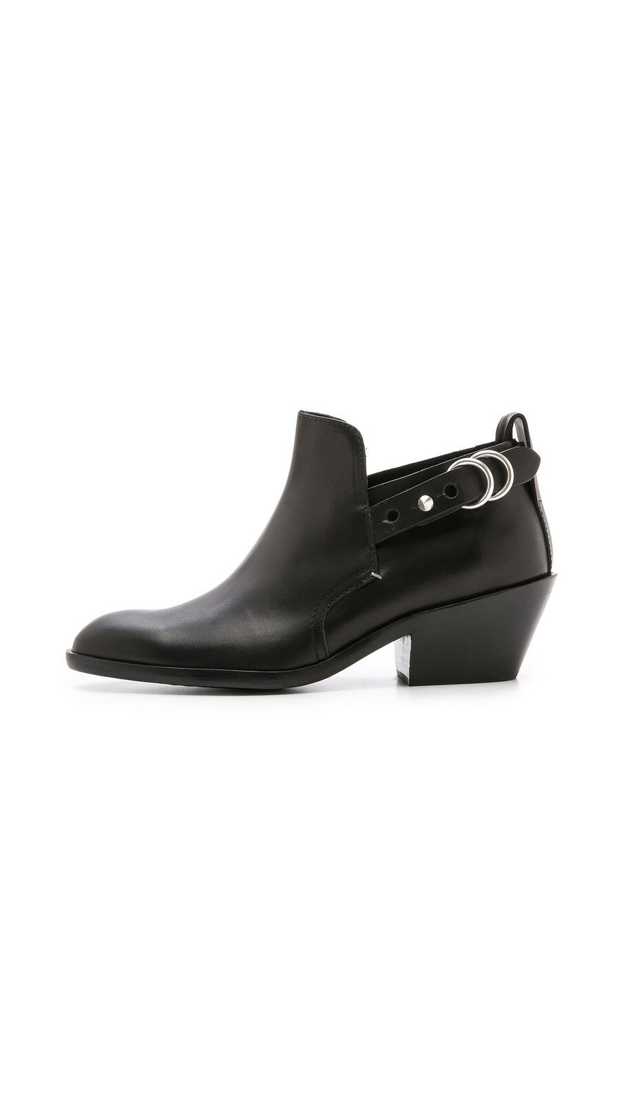 Rag & Bone Sullivan Boots Black Leather Low Heel Bootie, Sz 36, 6 US NIB $495